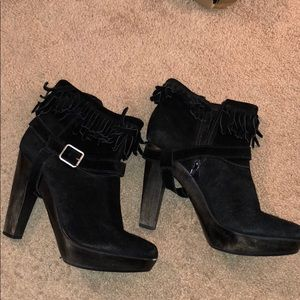 Juicy Couture black suede fringed booties